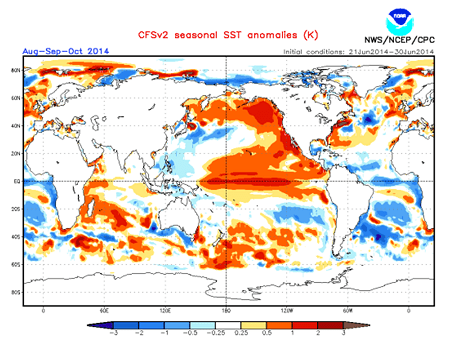 Pronóstico estacional de temperatura superficial del mar (°C). Fuente NOAA-NCEP
