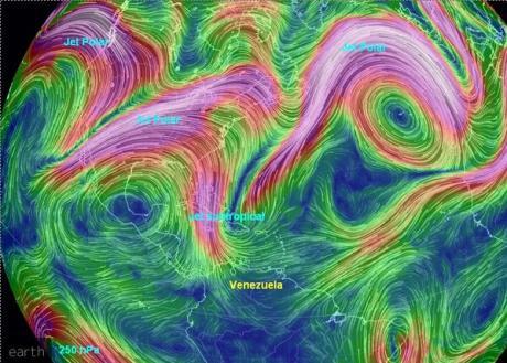 """Mapa de vientos en altura donde se muestra el """"chorro"""" de aire desde otras latitudes hacia Venezuela. Imagen analizada y posteada en twitter por @meteovenezuela"""