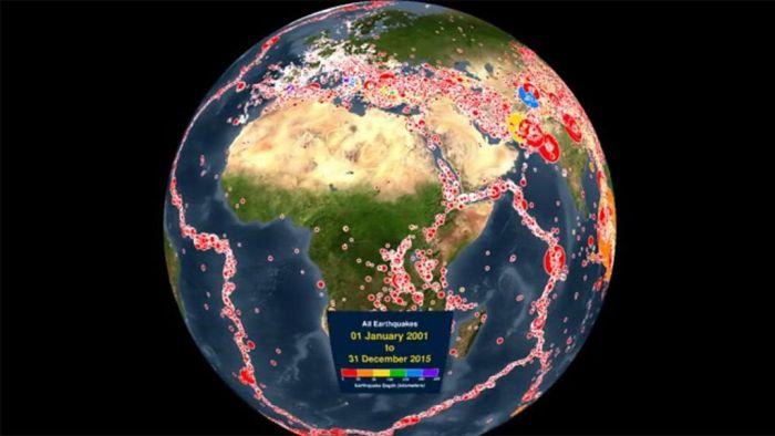Excelente video de como La Tierra ha sido sacudida por los terremotos en los últimos 15 años