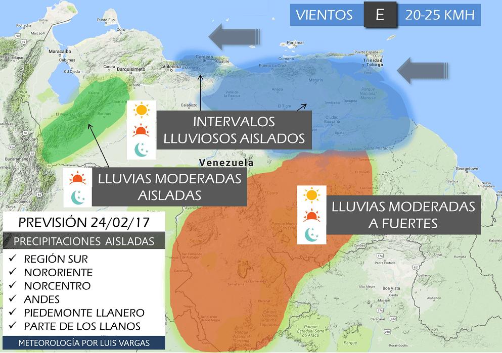 #PronósticoVEN #24Feb Lluvias moderadas/fuertes región Sur. Aisladas en los Andes, Oriente, Llanos y Norcentro