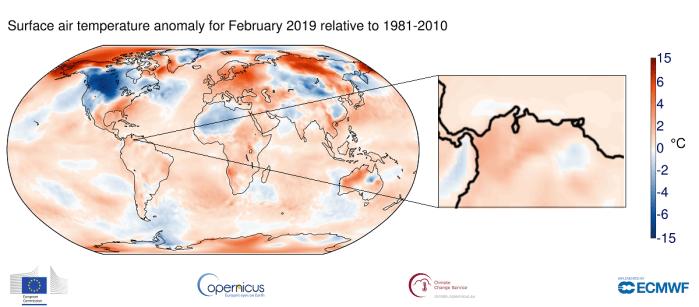 Febrero 2019 es el tercer febrero más cálido a nivel mundial de acuerdo a las últimas normales climatológicas. Venezuela no es la excepción!