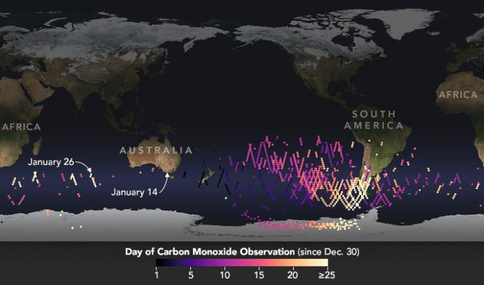 Los incendios australianos inyectaron más monóxido de carbono en la estratósfera en el mes de enero, que cualquier otro evento que se haya observado fuera de los trópicos durante los últimos 15 años