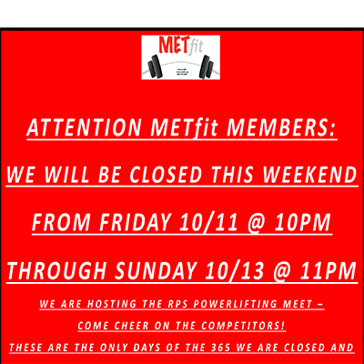 Gym Closed Oct 12-13