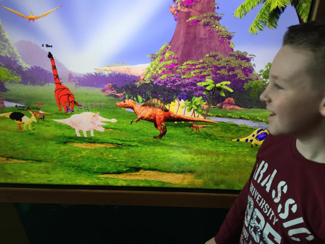 Viewing our dinosaurs on the screen at dinotropolis