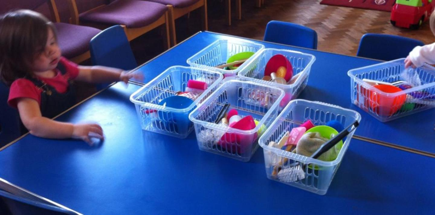 Messy play toddler group activities - sensory baskets