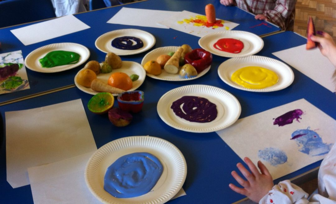 Craft based toddler group activities- fruit and vegetable printing