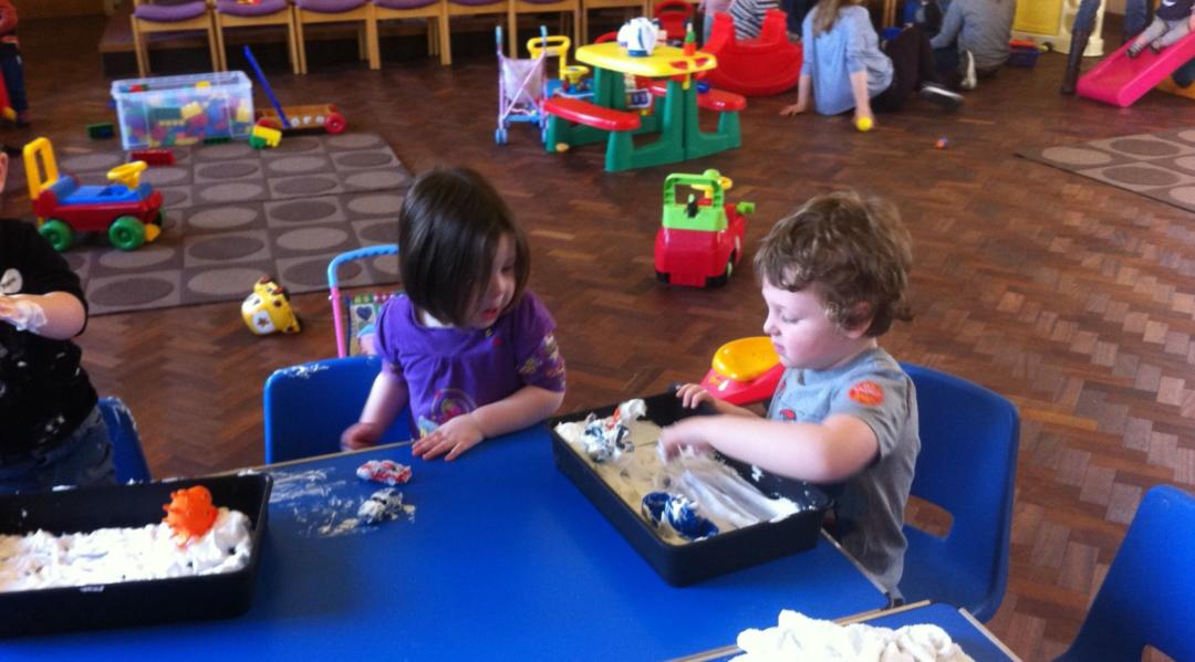 Messy play toddler group activities - foam