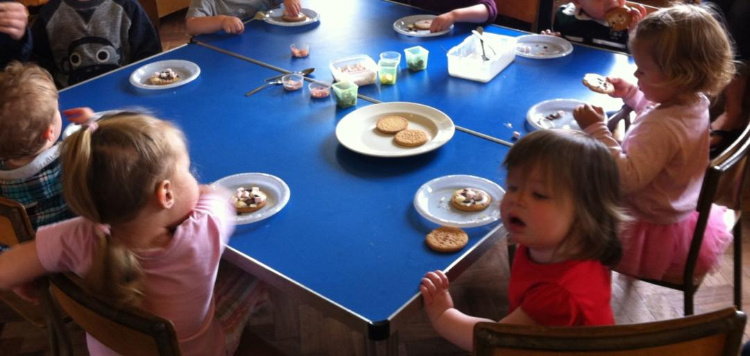 Food Based Toddler Group Activities- Decorating Biscuits
