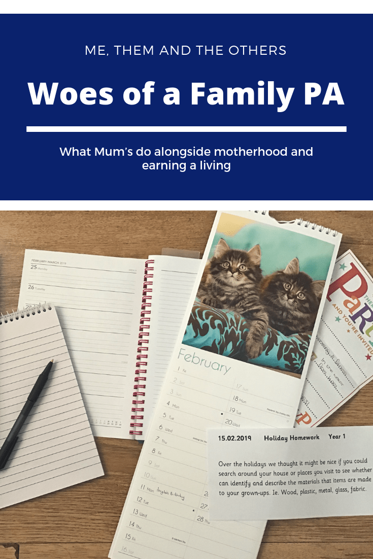 The Woes of the Family PA - Image of calendar, diary, notebook and invitation