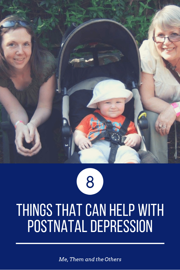 Ways to help with postnatal depression With image of my, baby and grandmother, offering support.