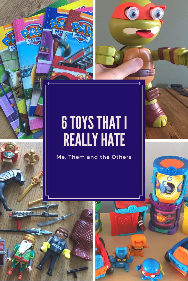6 toys I really hate - teenage mutant ninja turtle, Paw patrol books, superzings and playmobil