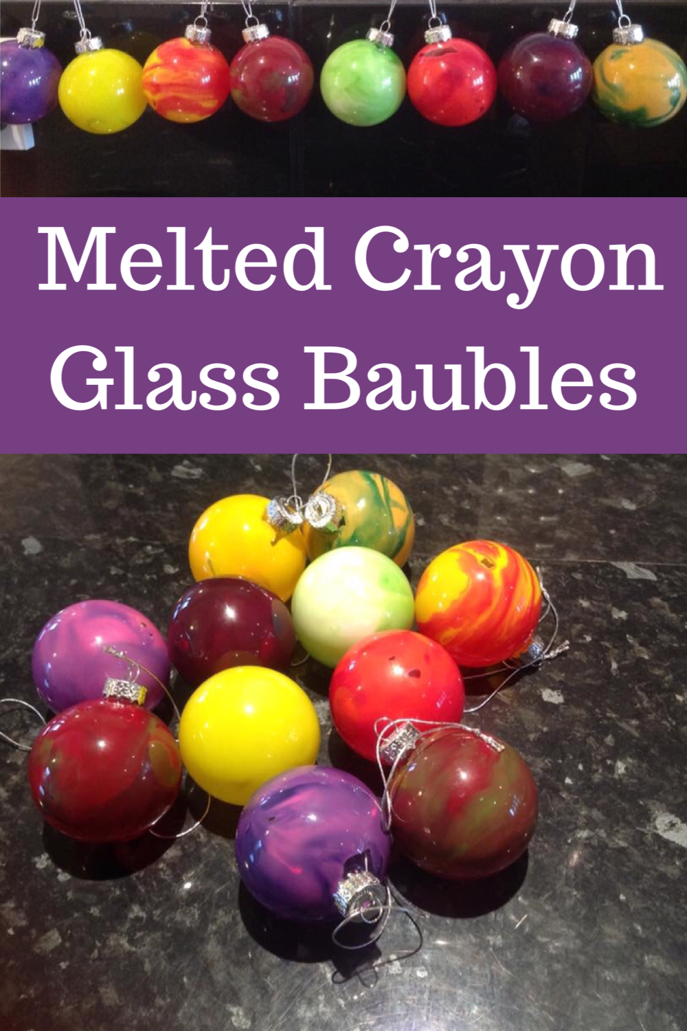Melted crayon Glass Baubles