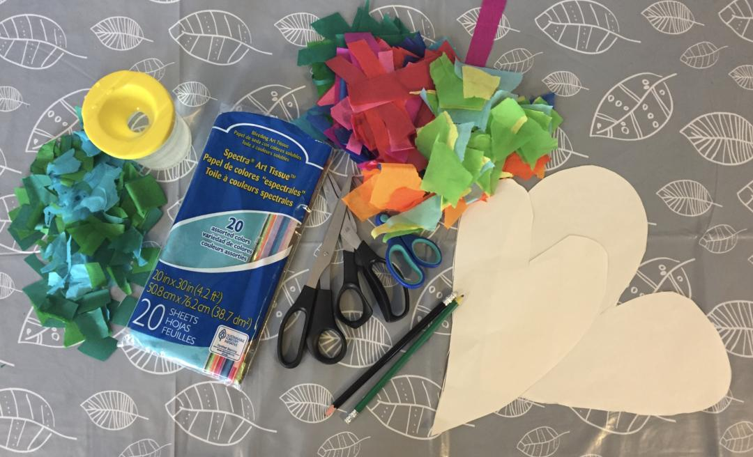 Equipment to make dyed tissue paper art