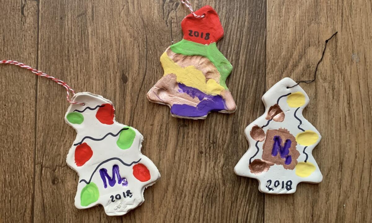 Clay Fingerprint Christmas Tree Decorations