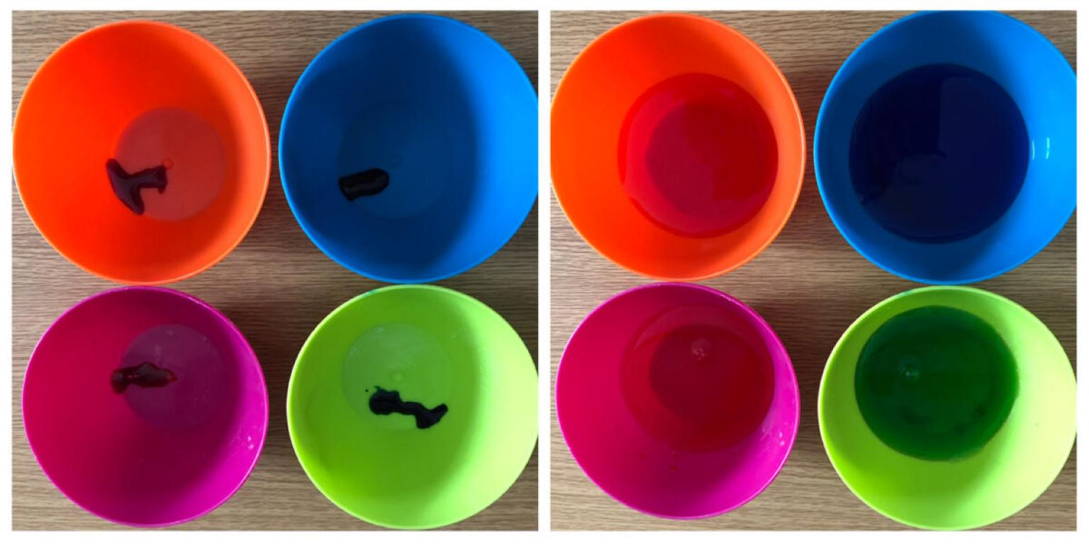 Preparing the food colouring and water in the bowls