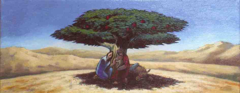 Holy family under the shade of a tree
