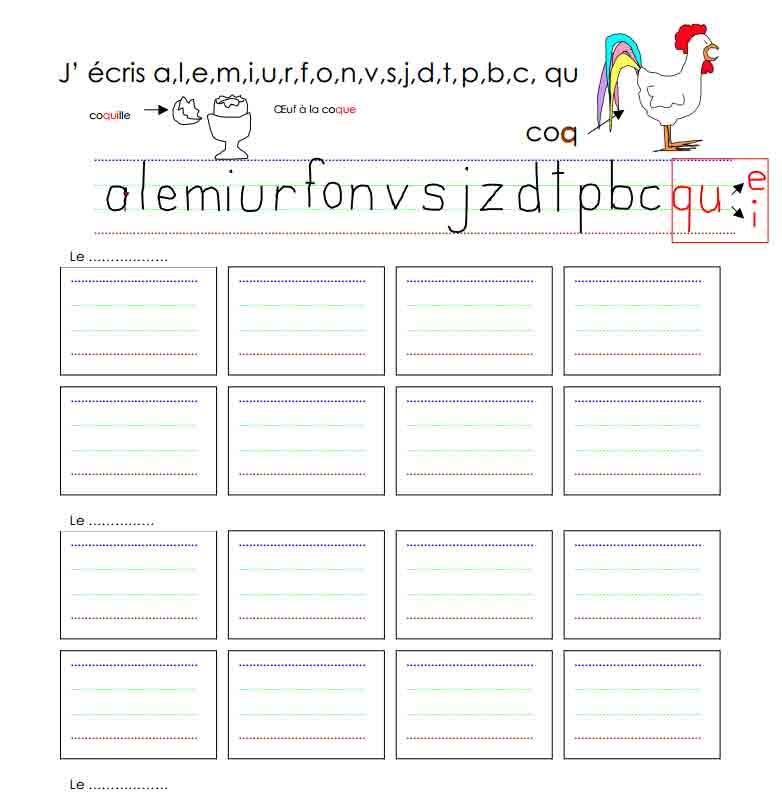 Dictée J'écris a, l, e, i, m, u, r, o, f, n, v, s, j, z, d, t, p, b, c, qu