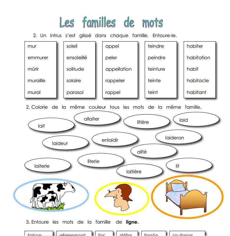 Les familles de mots