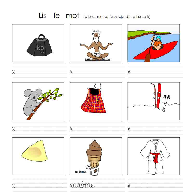 Lis le mot (a, l, e, i, m, u, r, o, f, n, v, s, j, z, d, t, p, b, c, q, k)