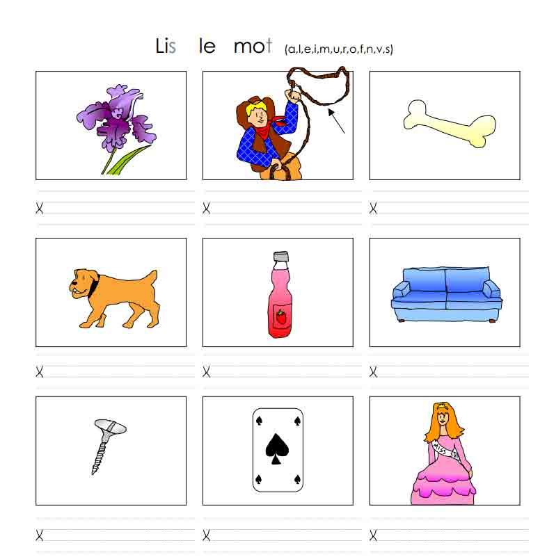 Lis le mot (a, l, e, i, m, u, r, o, f, n, v, s)
