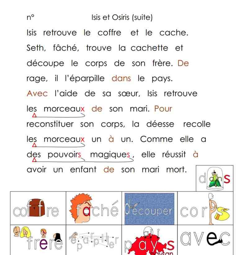 Vocabulaire Histoire Isis et Osiris 2