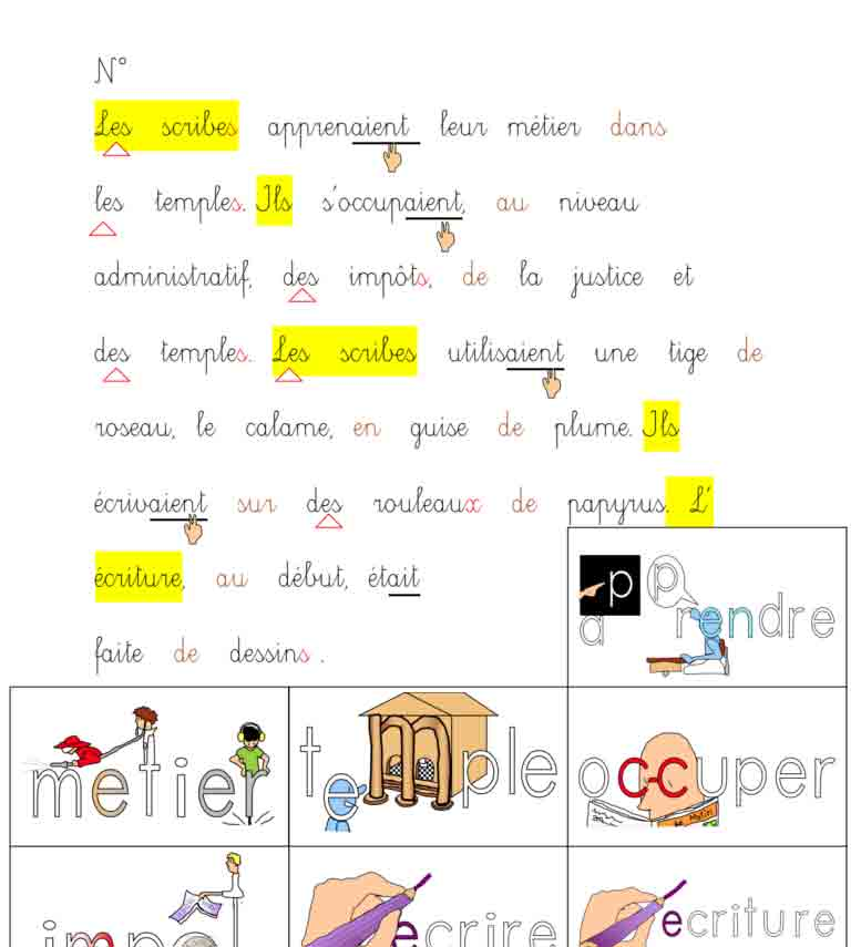 Vocabulaire Les scribes
