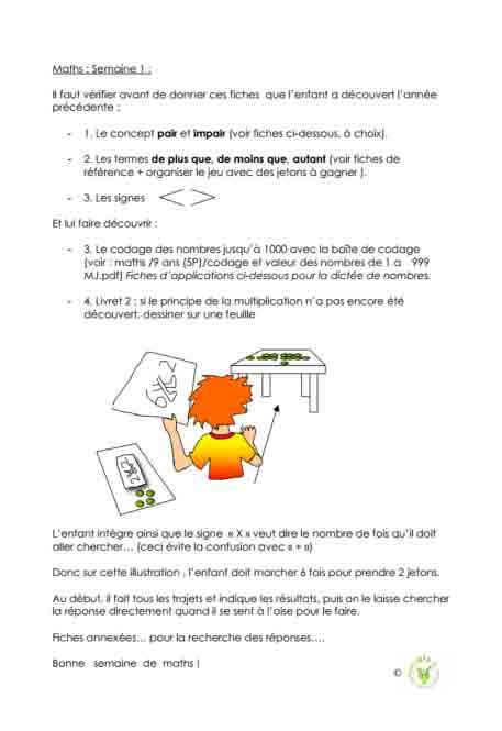 Programme semaine 1 maths 5P harmos