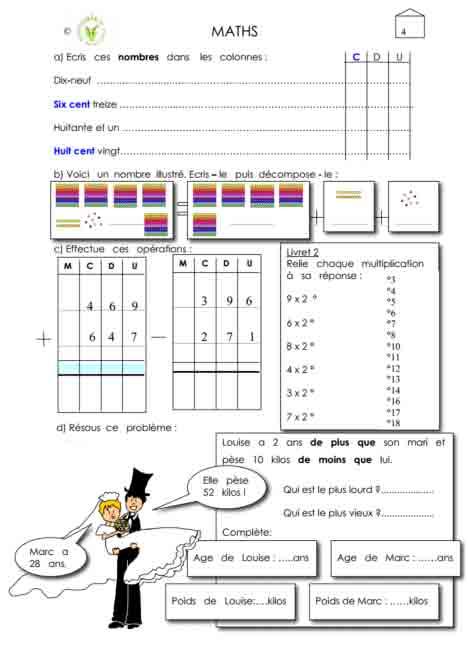Programme semaine 4 maths 5P Harmos