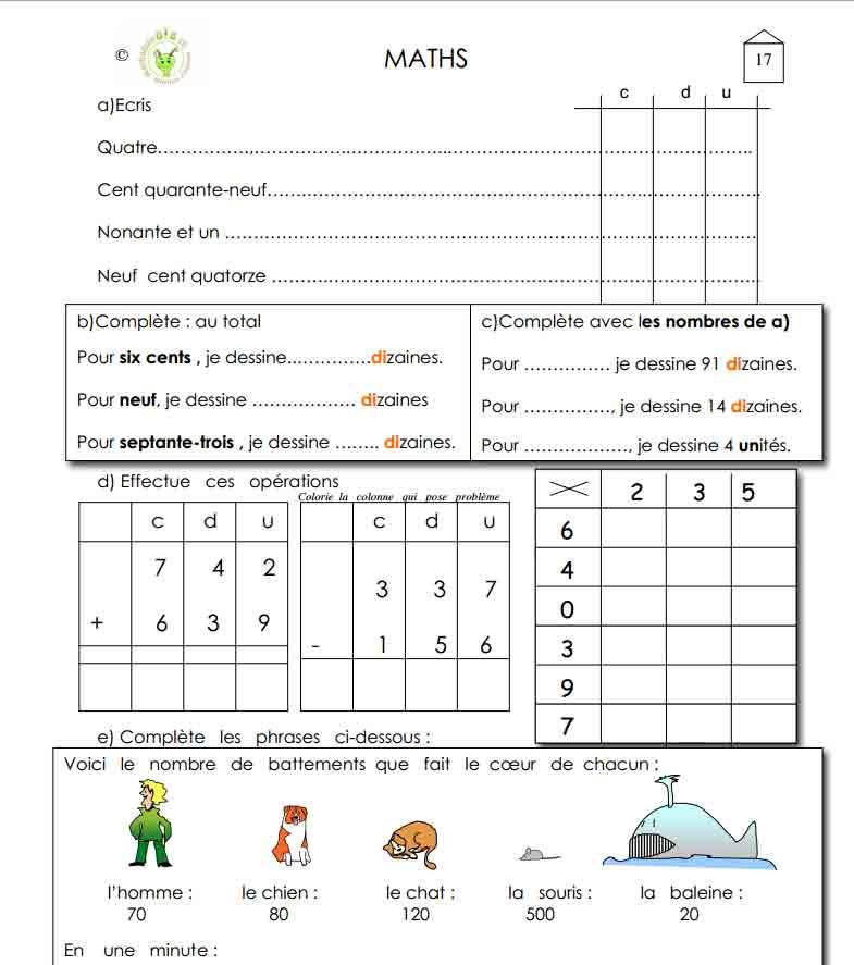 Programme semaine 17 Maths 5P Harmos