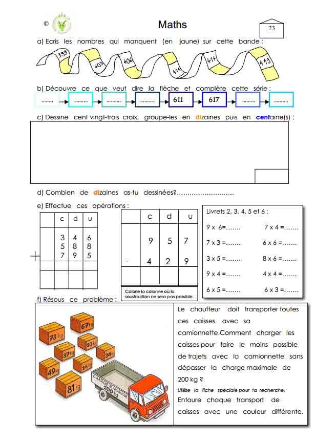 Programme semaine 23 Maths 5P Harmos