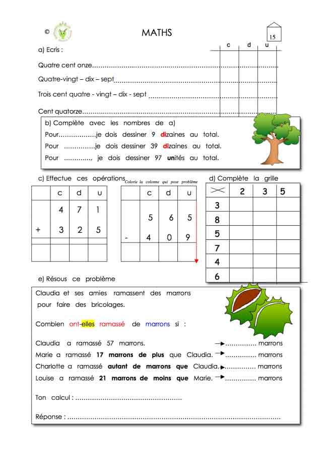 Programme semaine 15 Maths 5P Harmos