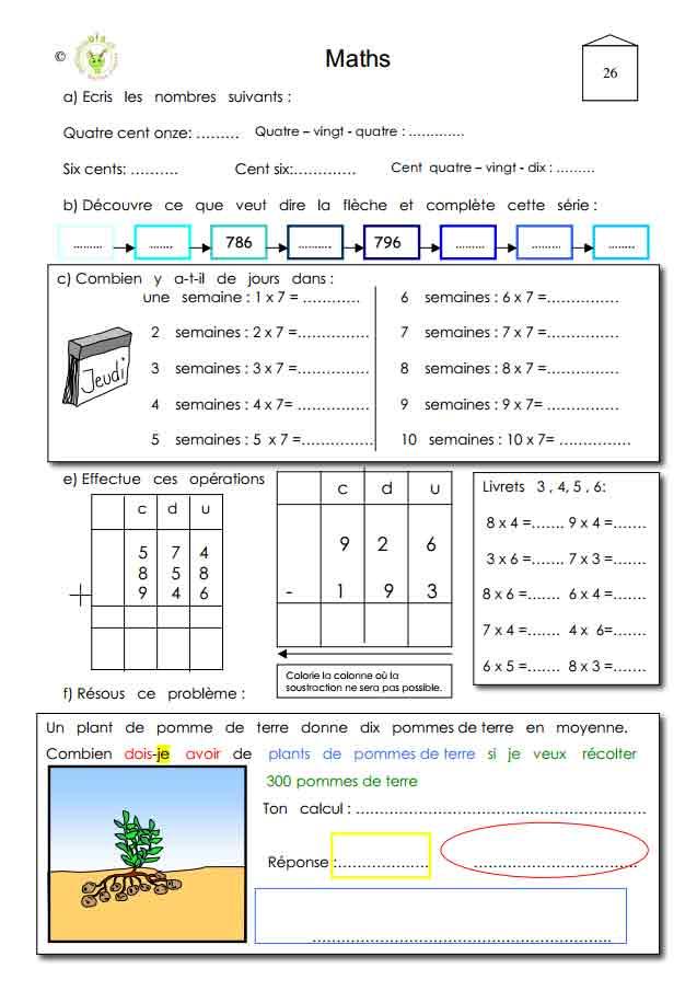 Programme semaine 26 Maths 5P Harmos