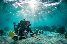 Here, a scientist is counting fish where a MPA will be implemented using a Diver-Operated Video system. Repeated assessments before enforcement provide an estimate of the spatial variability between the Control and Impact sites in the absence of an effect of the MPA.
