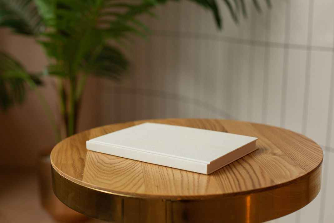book with empty cover on table