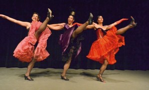 High kickers Missi Smith, left, Rose Weagant and Kaarin Kelly perform a number from the musical Can-Can.