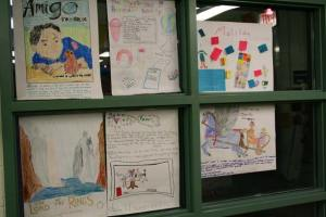 Just a few of the posters students created with their families to celebrate Reading in the Family month. The posters were on display at Methow Valley Elementary's Family night, held last Thursday (Jan. 27). Photo by Darla Hussey