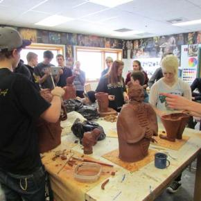 The ceramics studio at Liberty Bell High School buzzed last week with students building replicas of China's Terra Cotta Warriors. Photo by Erin Frey