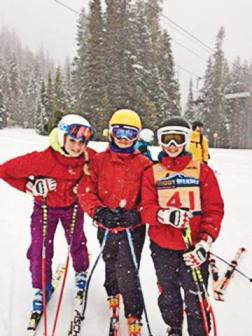 Hannah Weymuller, left, Cailin Chandler and Ali Palm pose at the U14 Buddy Werner Championships held at Crystal Mountain last weekend. Photo courtesy of Ingrid Patterson