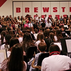 The 185-member band and 86-member choir filled the gym.  Photo by Darla Hussey