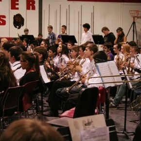 The brass and percussion sections alone numbered more than most of the participating schools' entire band. Photo by Darla Hussey