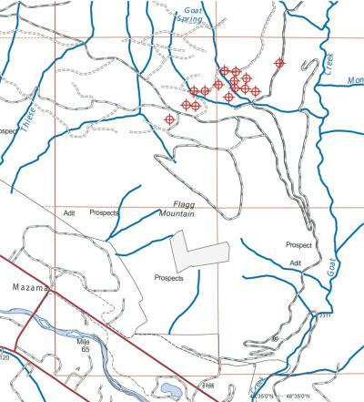 Red circles indicate proposed exploratory drilling sites. Map by Darla Hussey