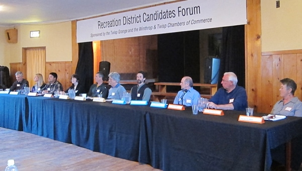 Ten of the 13 candidates for a proposed recreation district commission were at a public forum last week. Photo by Don Nelson