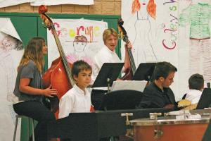 "The Jazz band enjoys playing ""Sunday Morning."" Front, left to right: Michael Mott and Evan Wagstaff; Back, left to right: Kelsey Baldwin and Isaac Cordes. Photo by Darla Hussey"