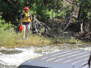 A rescue team member waited downstream with a safety rope in case it became necessary. Photo by Don Nelson