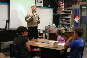 Mike Maltais, sports reporter for the Methow Valley News, talked to the kids about writing sports stories. Photo by Darla Hussey