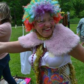 Drag King competitor Carolyn Reynaud hams it up during the Drag King/Queen race. Photo by Laurelle Walsh