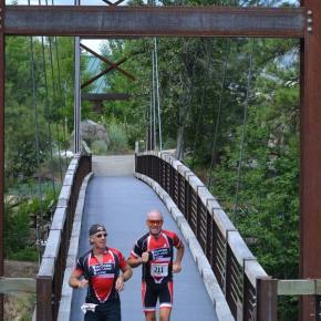 """""""Team War,"""" a duo from Wenatchee, was first """"tandem"""" team to cross the finish line. Photo by Laurelle Walsh"""