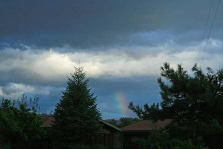 A rainbow seen Wednesday afternoon from Winthrop briefly buoyed spirits. Photo by Marcy Stamper
