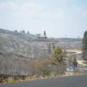 The day after: a portion of the Rising Eagle Road fire area seen from Highway 20. Photo by Don Nelson