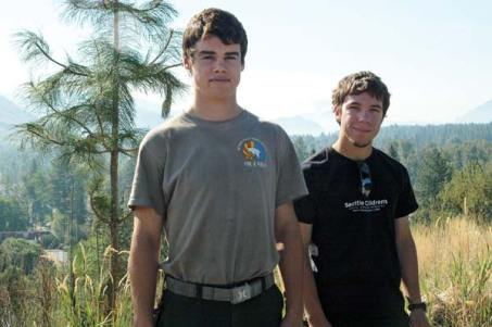 Milo Holston, left, and Tom Zbyszewski, both Liberty Bell High School graduates, are in their first season of firefighting. Photo by Ann McCreary